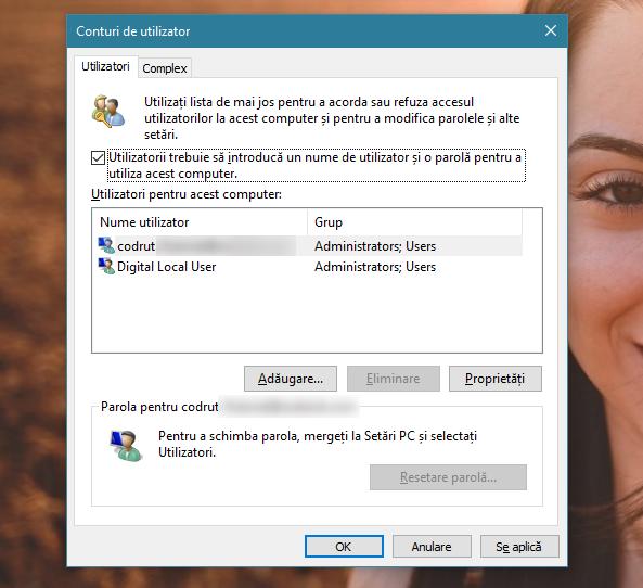 Fereastra netplwiz Conturi de utilizator