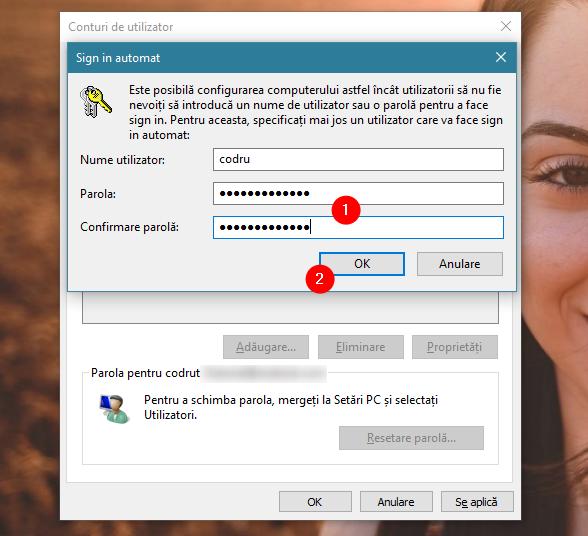 Introducerea parolei pentru contul de utilizator selectat