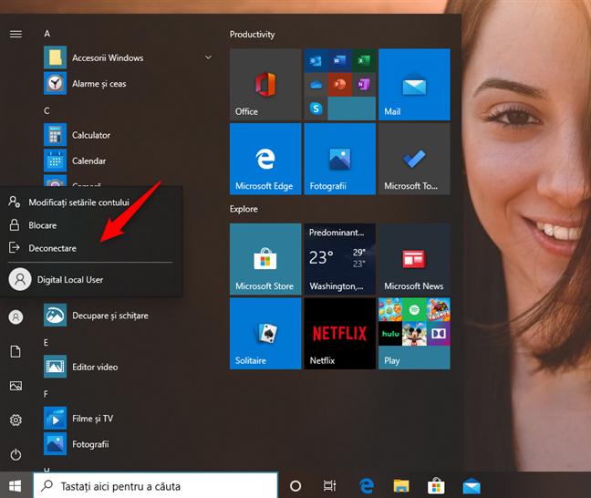 Deconectare sau comutare la alt cont de utilizator în Windows 10