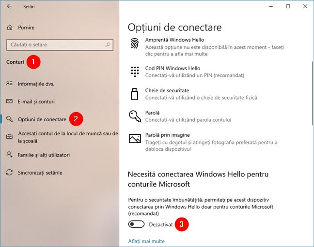 Necesită conectarea Windows Hello pentru conturile Microsoft