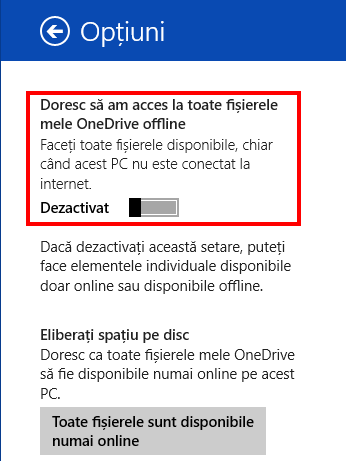 OneDrive, Windows 8.1, Smart Files, dezactiveaza, fisiere, disponibile offline