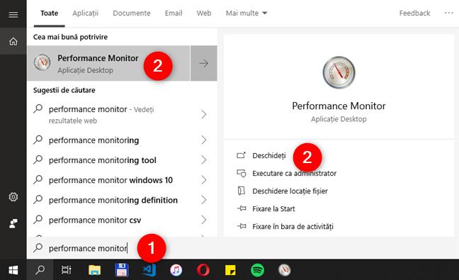 Deschidere instrumentului Performance Monitor în Windows 10