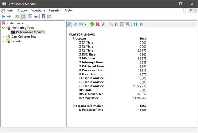 Performance Monitor afișând datele sub formă de raport