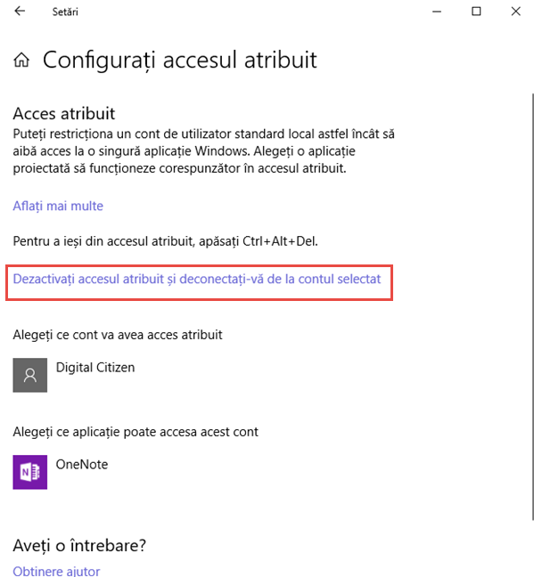 Windows 10, acces atribuit