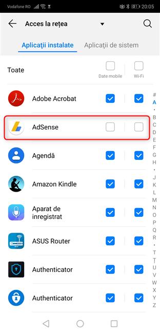 Setări Android - blochează accesul la internet al aplicațiilor