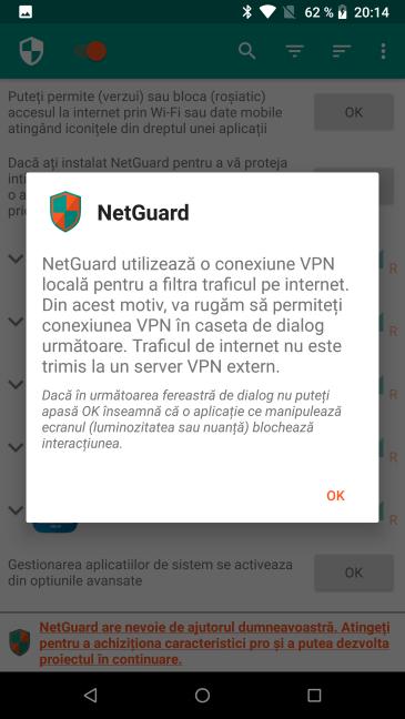 NetGuard folosește o conexiune VPN locală pentru a restricționa traficul