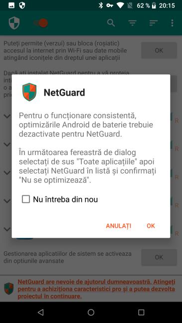 Optimizările pentru baterie ale Android trebuie dezactivate pentru NetGuard