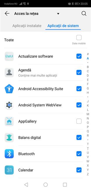 Setări Android - blochează aplicații de sistem din a folosi datele mobile