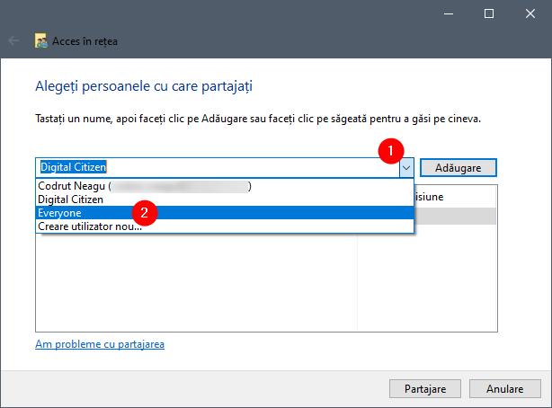 Selectarea numelui unui utilizator cu care să fie partajate elemente selectate