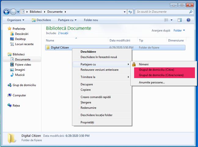 Opțiuni suplimentare de partajare cu Grupul de domiciliu, disponibile doar în Windows 7