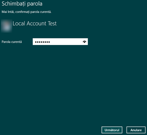 Windows 8.1, Setari PC, cont, utilizator, local, parola, schimba