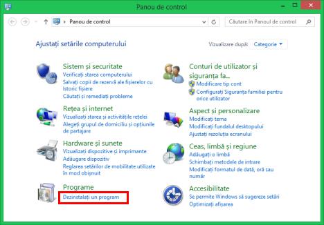adaugare sau eliminare programe, programe si caracteristici, Windows 7, Windows 8.1