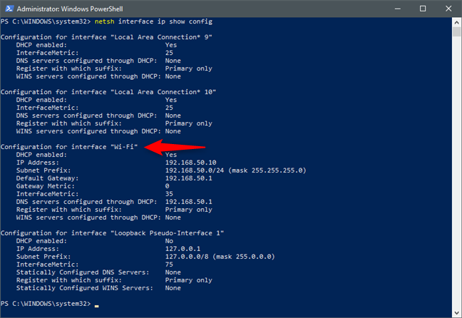 netsh interface ip show config