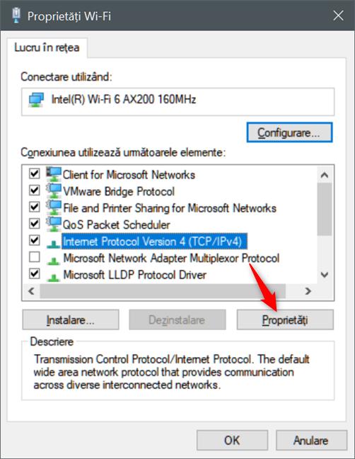 Deschiderea Proprietăților Internet Protocol Version 4 (TCP/IPv4)