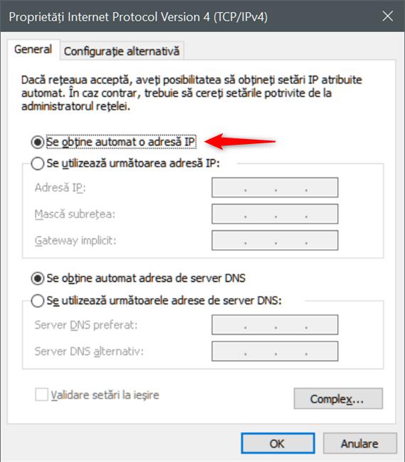 Se obține automat o adresă IP