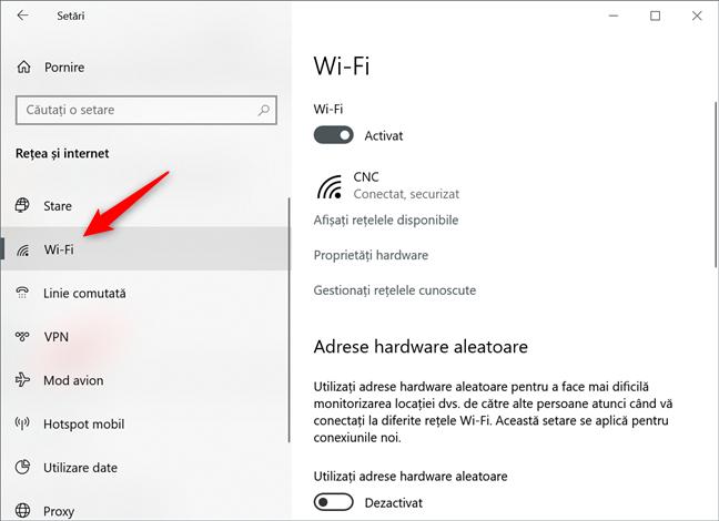 Conexiunea de rețea Wi-Fi