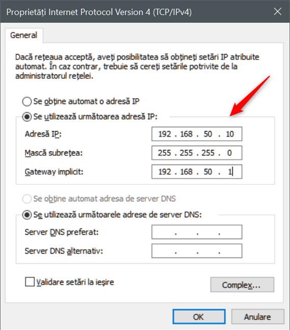 Setarea unei adrese IP statice în Windows 10