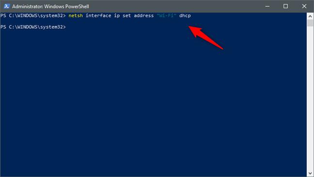 """netsh interface ip set address """"Nume interfață rețea"""" dhcp"""