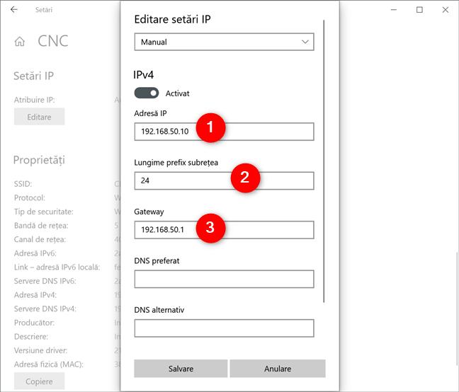 Configurarea unei adrese IP statice în Windows 10