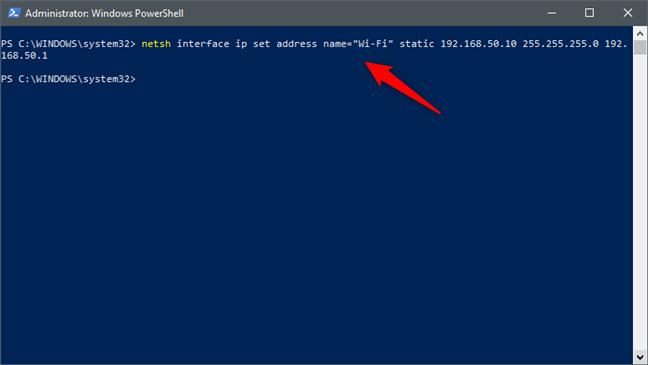 netsh interface ip set address name