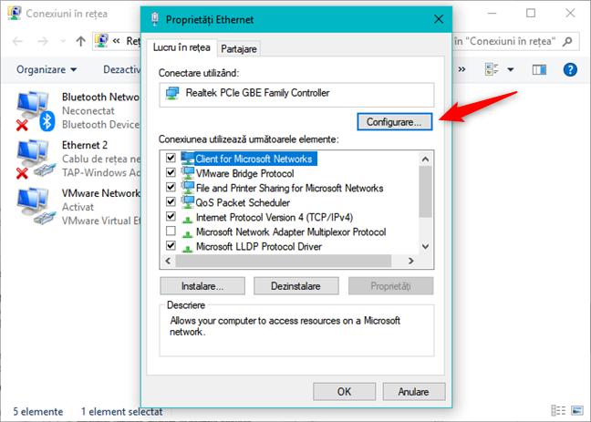 Opțiunile de configurare ale unui adaptor de rețea