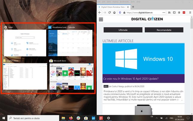 Apasă pe o aplicație pentru a o alinia în partea stângă a ecranului
