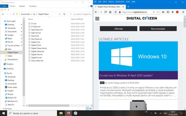 Ferestrele aplicațiilor Explorer și Mozilla Firefox aliniate una lângă alta