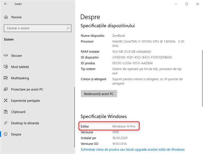 Detalii despre ediția, versiunea și build-ul Windows 10