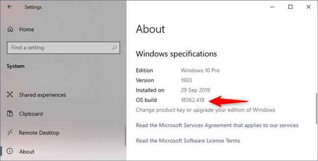 Windows 10 Pro, versiunea 1903, build 18362.418