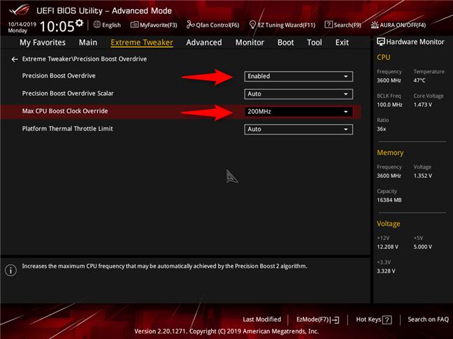 AMD Ryzen 7 3700X: PBO activat și AutoOC Offset setat la 200 MHz