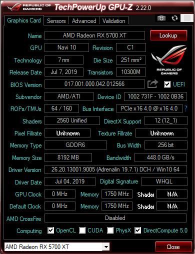 Detalii oferite de GPU-Z despre AMD Radeon RX 5700 XT