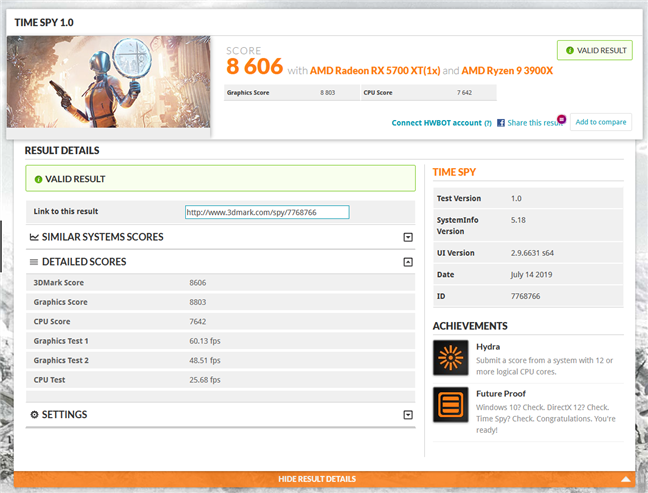 Rezultat benchmark result în 3DMark Time Spy