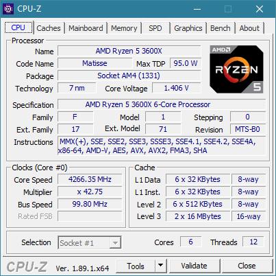 Detalii din CPU-Z despre AMD Ryzen 5 3600X