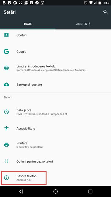 Despre telefon în Android 7 Nougat