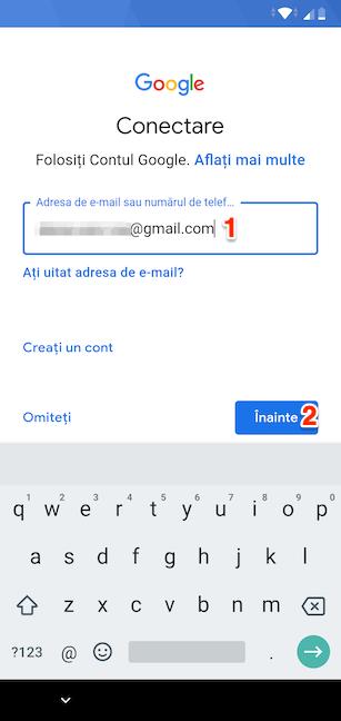 Introdu adresa de e-mail sau numărul asociate contului tău Google