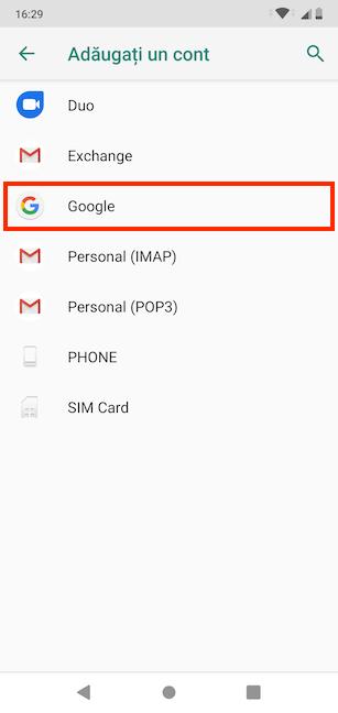 Alege să conectezi un cont Google