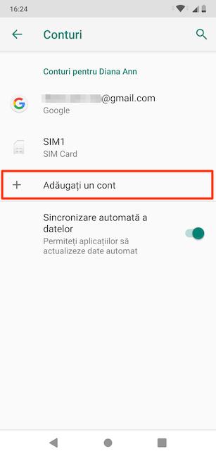 Adăugarea unui cont pe Android