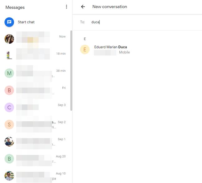 Pornește o nouă conversație cu Messages pentru web