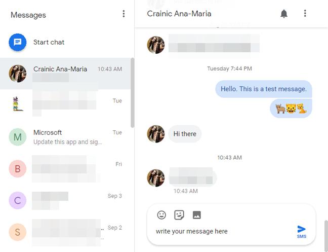Trimite SMS-uri în Messages pentru web