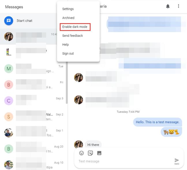 Modul Dark Mode din Messages pentru web