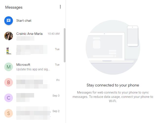 Messages pentru web în browser