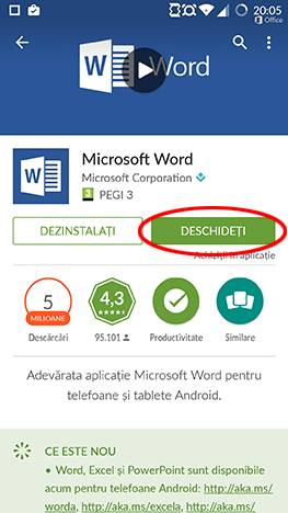 Android, Microsoft, Office, Word, Excel, PowerPoint, Google, Play, aplicatii, instalare, setare