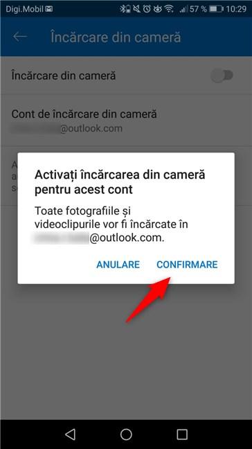 Activarea opțiunii de încărcare din cameră, în aplicația OneDrive