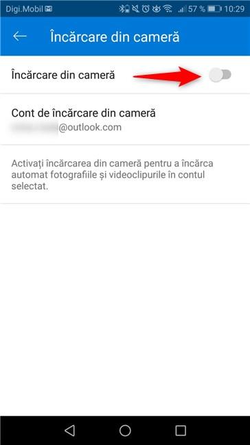 Comutatorul Încărcare din cameră, din aplicația OneDrive