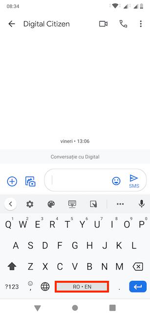 Tastatura Gboard a Android-ului nostru după ce am comutat pe română