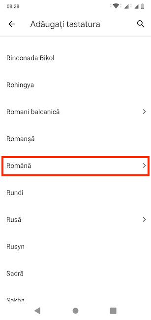 Selectează limba pe care vrei s-o folosești pentru tastatura ta