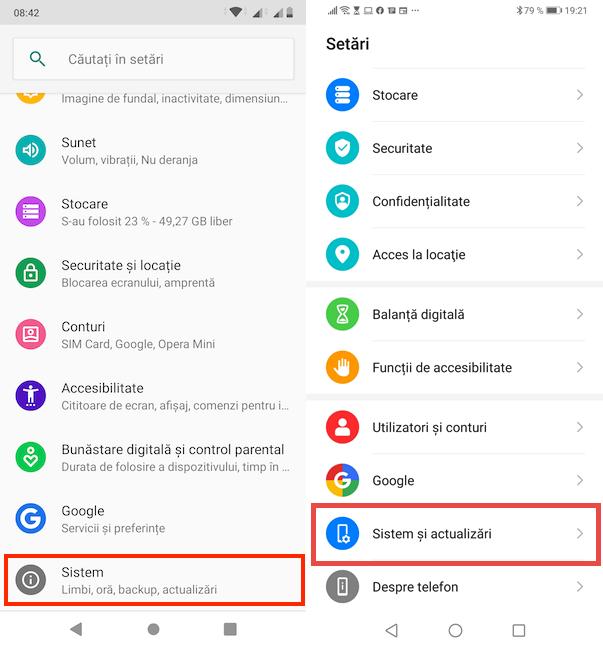 Accesează secțiunea potrivită din Setări Android