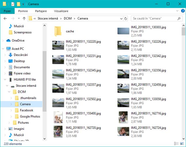 Explorer afișează doar folderele Pictures și DCIM din Android
