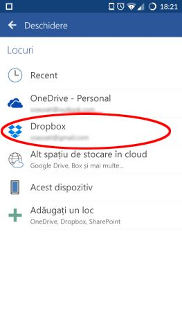 Android, Microsoft, Office, Word, fisier, deschide, accesare, cloud