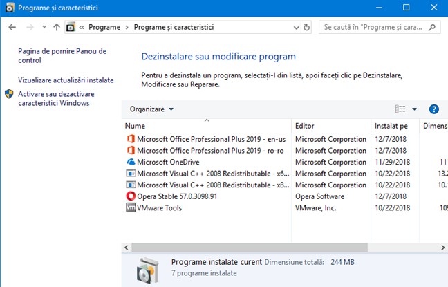 Lista programelor instalate în Windows
